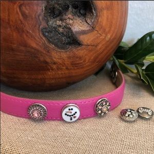 Pink Leather Snap Cuff Bracelet w/2 extra snaps